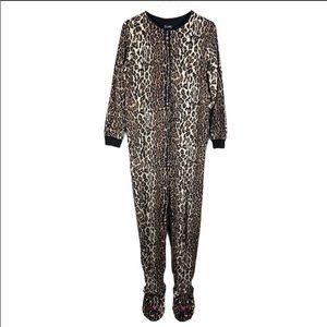 Leopard jumpsuit pajamas size M super soft